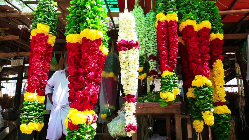 TAMIL NADU, INDIA - JUNE 2012: Time lapse shot of garlands, Chennai, Tamil Nadu, India