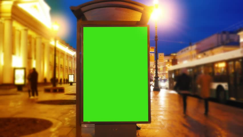 Time Lapse.A Billboard with a Green Screen on a Busy Street.Time Lapse | Shutterstock HD Video #26502374
