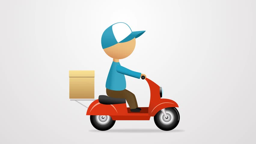 Pizza Or Food Delivery Concept. Boy Riding On Scooter Or ...