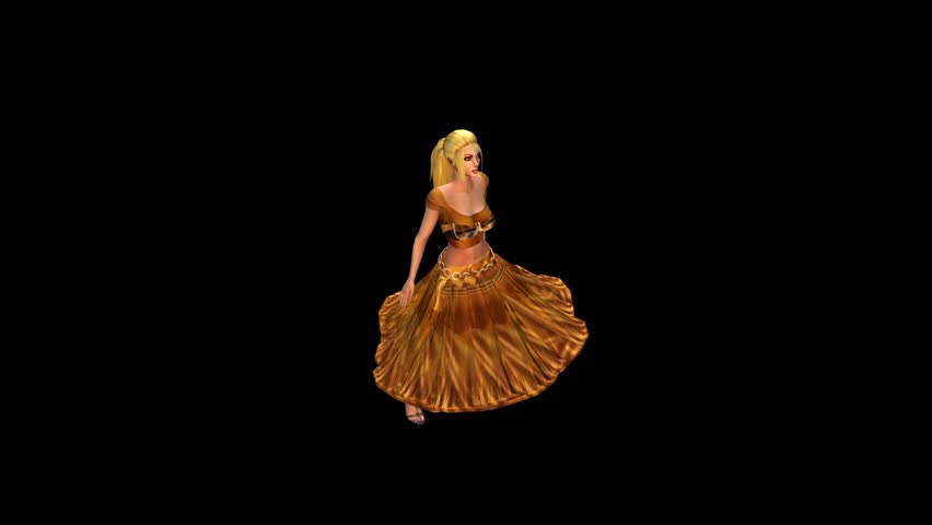 dancer dancing merrily on dance floor.dress&gold skirt with colorful stage light. cg_01096