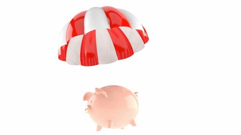 Piggy bank with parachute isolated on white background