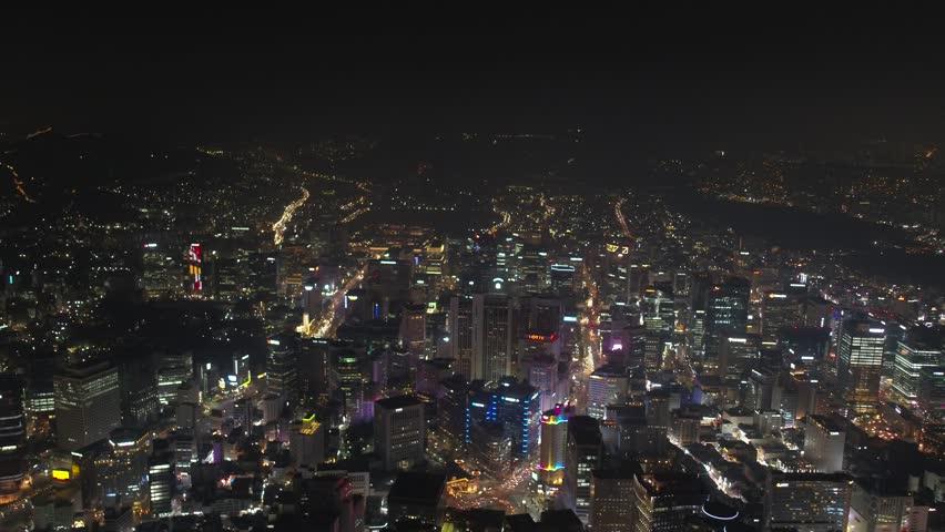 Aerial Korea Seoul April 2017 Seoul Night