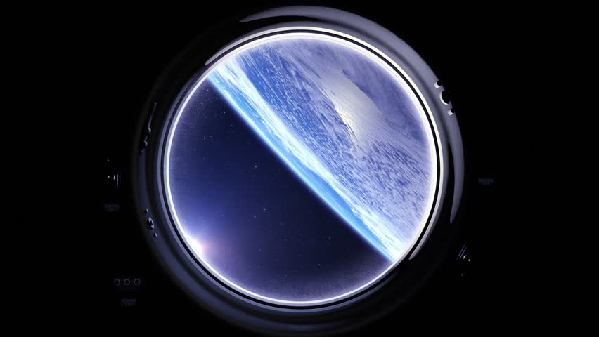Space Station Above The Earth. International space station is orbiting the Earth. Earth as seen through round window of ISS. Realistic. Volumetric clouds. View from space. Starry sky. 4K. Elements furnished by NASA. | Shutterstock HD Video #26555954