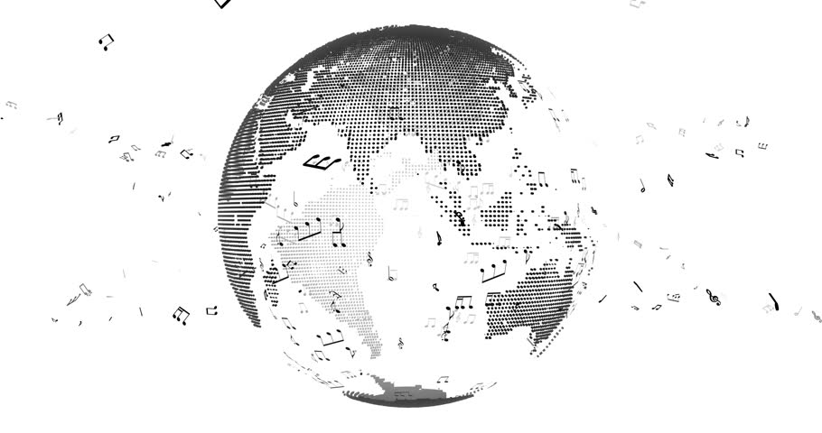 Line Art Earth : Earth rotating surrounded by dollars particles with alpha channel