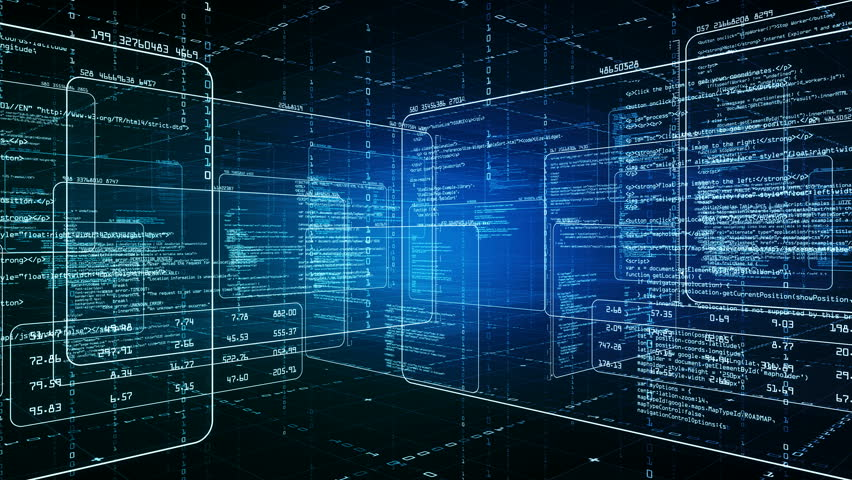 Computer program code in virtual space. The camera rotates 360 degrees. Available in multiple versions. Blue/green version. Seamless loop. 4K   Shutterstock HD Video #26597054