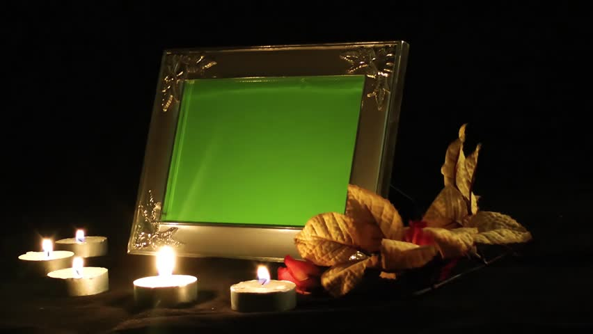 Photo Frame and Candles and Flowers