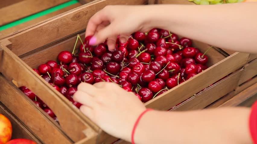 Girl puts cherries in boxes.