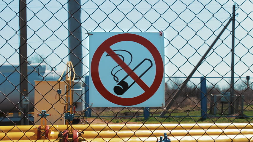 Natural Gas No Smoking Gas Station Pipeline Under Pressure Stock