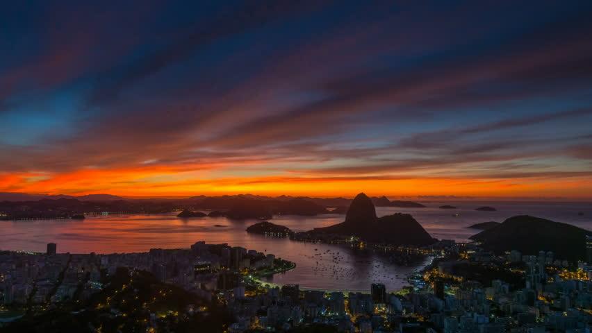 Gorgeous sunset sky rio de janeiro city famous panorama 4k time lapse brasil | Shutterstock HD Video #26662864