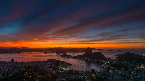 gorgeous sunset sky rio de janeiro city famous panorama 4k time lapse brasil