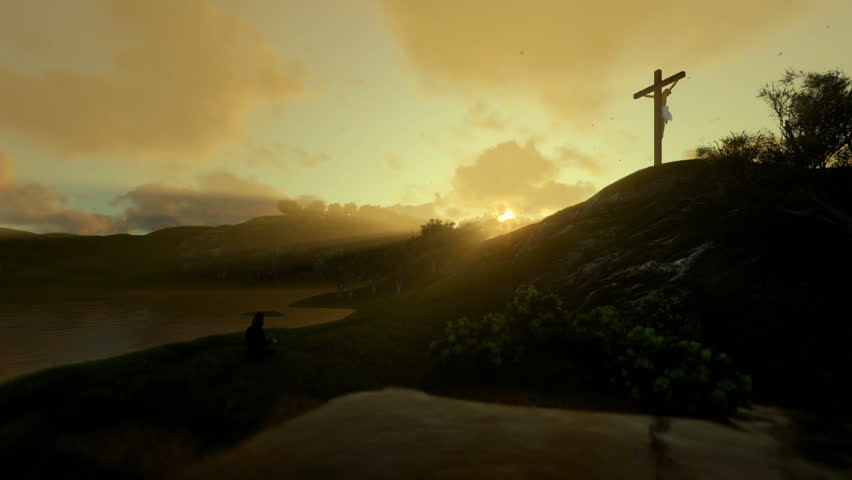 Woman praying at Jesus cross against beautiful morning sun rays | Shutterstock HD Video #26675467