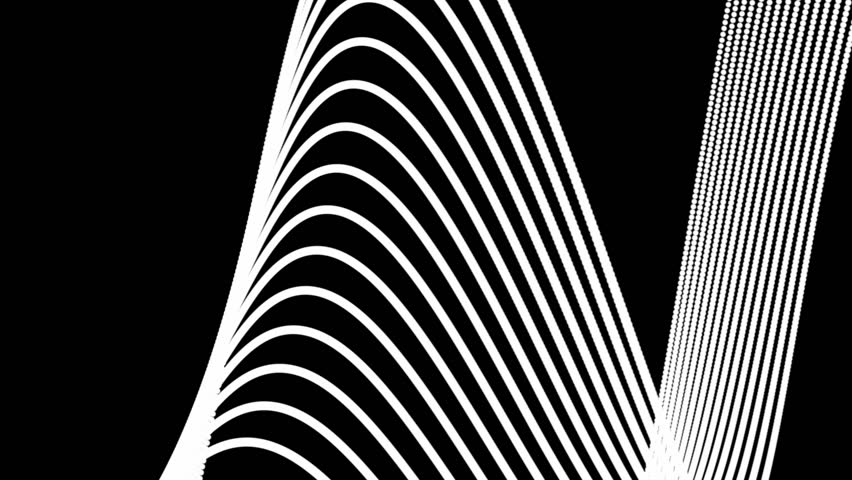 Abstract CGI motion graphics and animated background of white lines on a black background swirling around and creating bizarre shapes and arrangements