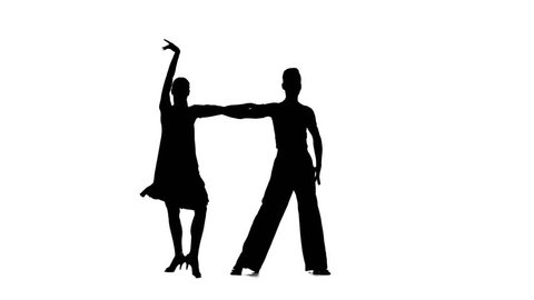 Couple silhouette professional dancing rumba on white background, alpha channel