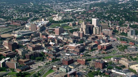 Flight approaching downtown Providence, Rhode Island, with view of Capitol. Shot in 2003.