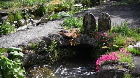 Hakuba village melting water canal flowing water