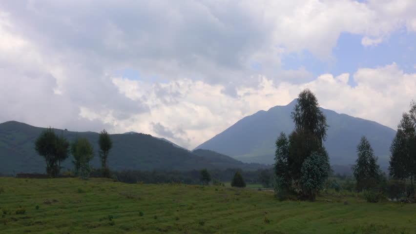Landscape Rwanda, land of thousand hills, Virunga Mountains, Bisoke, Mikeno, Sabyinyo, Mountain Gorilla Trekking, Africa