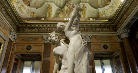 ROME, ITALY - APRIL 26:  Tourists visit the Borghese gallery and museum with sculptures of Bernini and paintings of the Caravaggio on April 26, 2017 in Rome