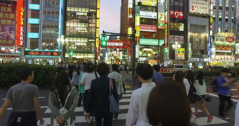 TOKYO - MAY 7, 2017: Point of view video of a walk across the Yasukuni road and the entertainment district of Kabukicho in Shinjuku at night in Tokyo, Japan capital city.