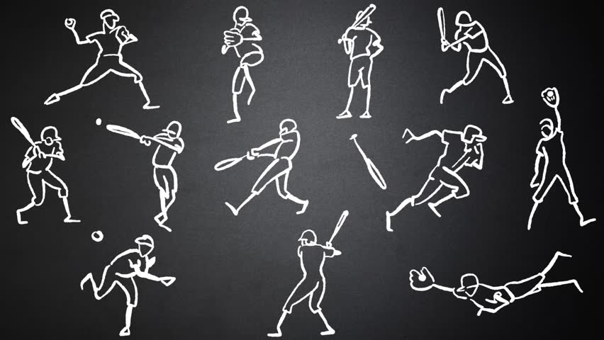 Baseball Player Animated Drawing on Chalkboard. hand-drawn outline Sequence. Five seconds buildup, two seconds Loop, 3 seconds Clean the chalkboard