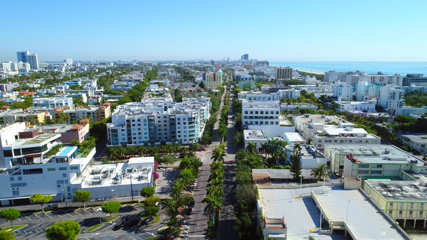 Drone aerial tour Miami Beach south of fifth street