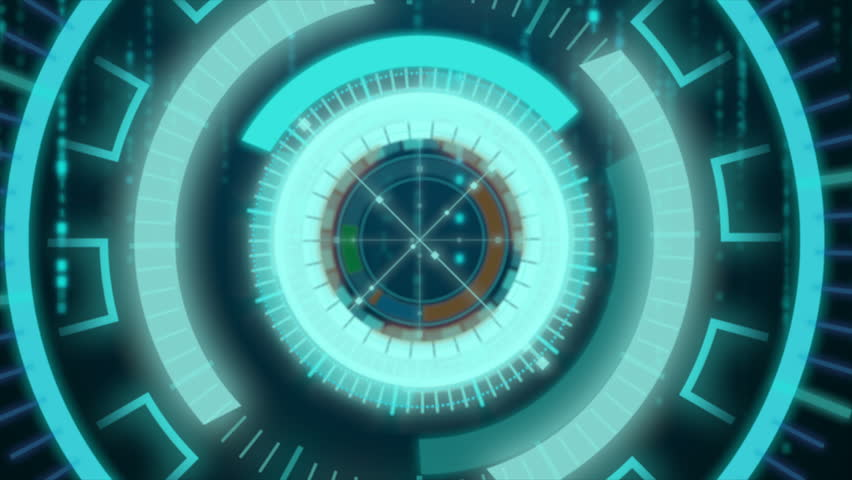 4K HUD Head up display moving with random binary drop  on the dark background for cyber technology and futuristic concept | Shutterstock HD Video #26793754