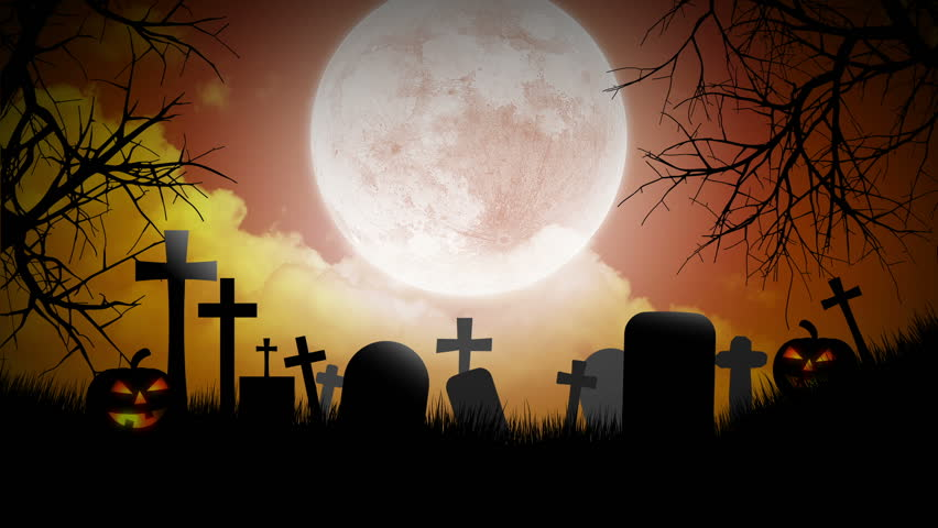 halloween background with pumpkins moon and graveyard hd stock footage clip - Halloween Background Video