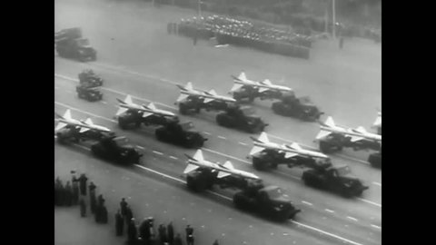 1960s: Massive military parade in Red Square Russia in 1960s.