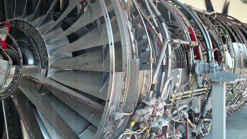 Aircraft reaction turbine. View through glass window