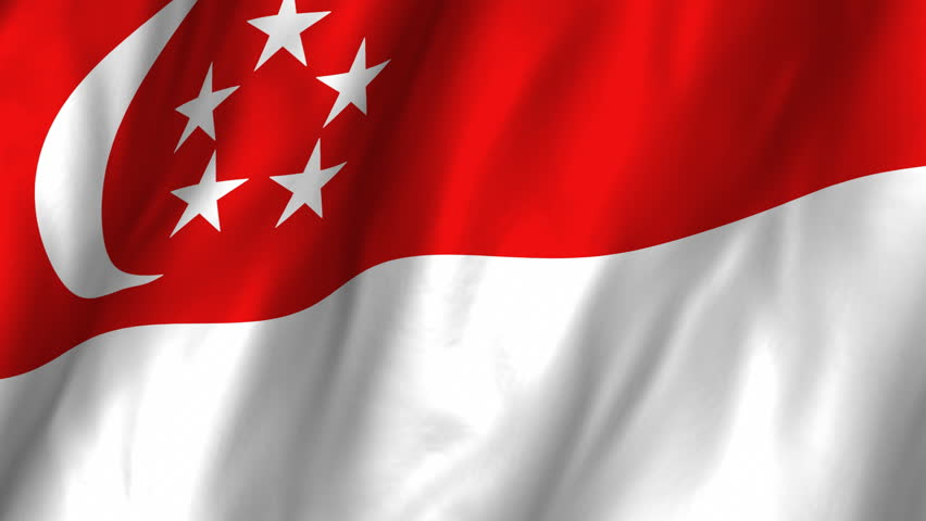 A beautiful satin finish looping flag animation of Singapore.     A fully digital rendering using the official flag design in a waving, full frame composition.  The animation loops at 10 seconds.