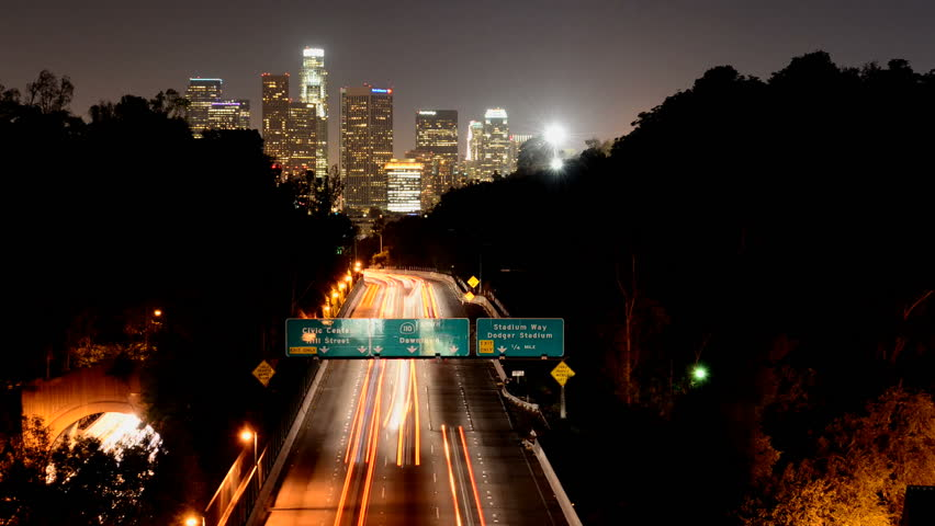 Time Lapse of Downtown Los Angeles at Night with Traffic    Shutterstock HD Video #2696774