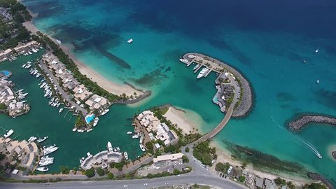 Aerial View or Barbados Port and Marina from the sky - Public White Sand Beaches on Tropical Vacation Island for Holiday Summer Travel - Bridgetown: 19 May 2017