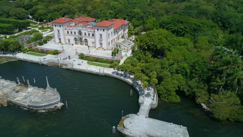 Aerial flyaway Vizcaya Museum and Gardens Villa 4k 60p