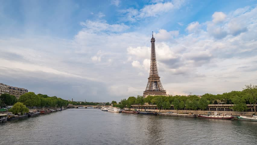 Paris city skyline timelapse at Seine River and Eiffel Tower, Paris, France, 4K Time lapse | Shutterstock HD Video #27010774