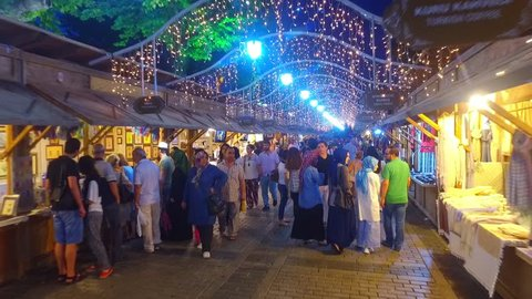 ISTANBUL, TURKEY - JUNE 22, 2016: holiday evening Fair at Ramadan time on Sultanahmet square in Istanbul
