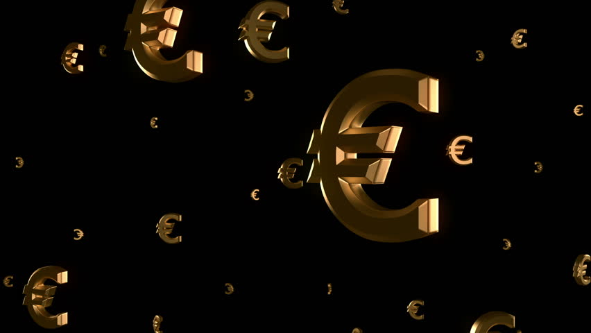 Euro sign falling, loop, 3D animation