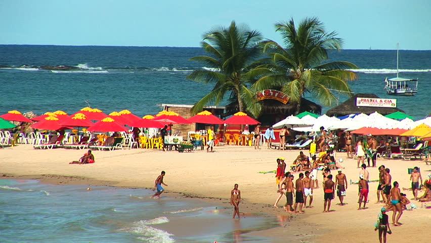 SALVADOR, BRAZIL - April 2008: Beach resort in Barra Beach, Salvador, Bahia, Brazil