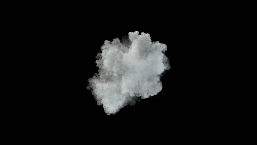 Middle size smoke puff / dust puff (with alpha channel). Separated on pure black background.