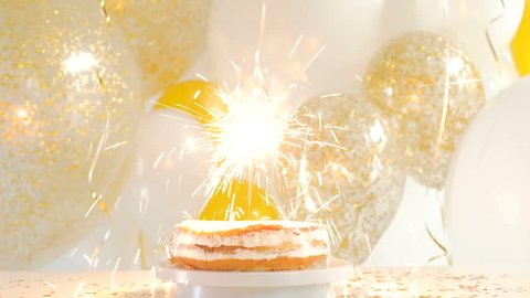 Happy Birthday cake with sparklers. Greeting card 1080p fullHD