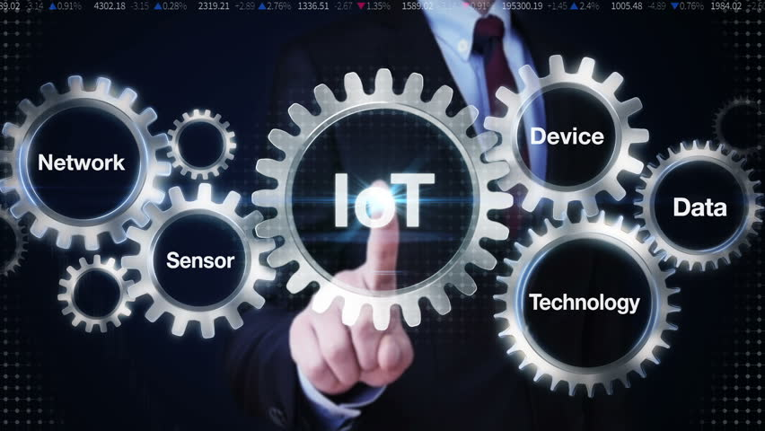 Businessman touch Gear with keyword, Network, Sensor, Data, Technology, Device,  'IOT' (included alpha)