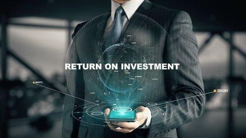 Businessman with Return On Investment hologram concept