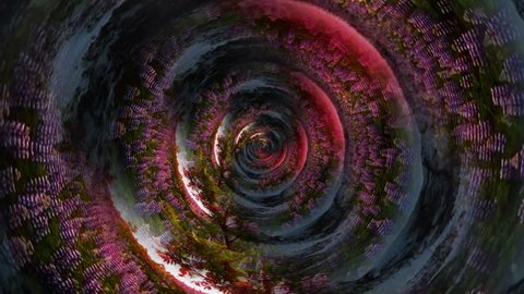 Infinite zoom through winter summer season tunnel, abstract surreal