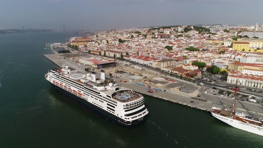 Touristic Cruise Ship Traveling In River Tejo Near Beautiful - Lisbon cruise ship port