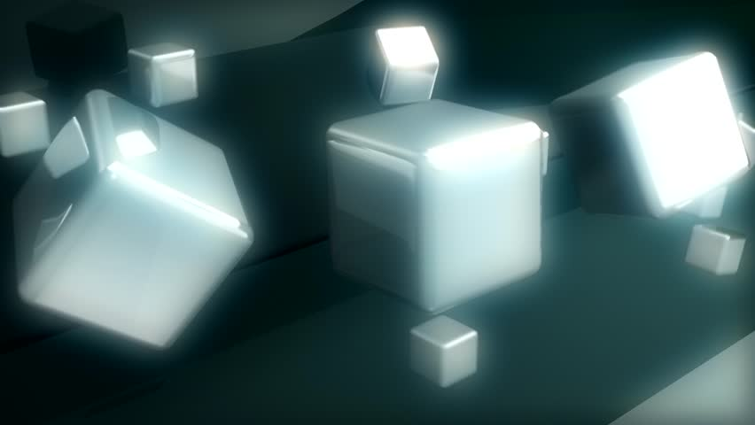 Abstract CGI motion graphics and animated background with twirling white blocks | Shutterstock HD Video #2713814