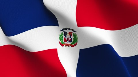 Dominican Republic flag waving seamless loop in 4K and 30fps. Dominican Republic loopable flag with highly detailed fabric texture.