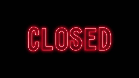 open and closed sign with a black background, the sign flashes and blinks.
