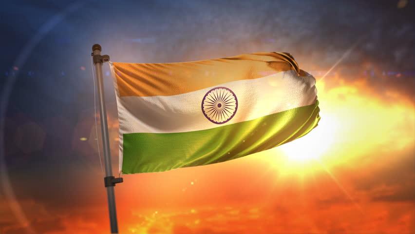 India Flag Backlit At Beautiful Sunrise Loop Slow Motion 4K