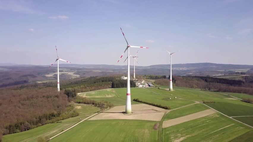 Aerial shot of a wind turbines  | Shutterstock HD Video #27213574
