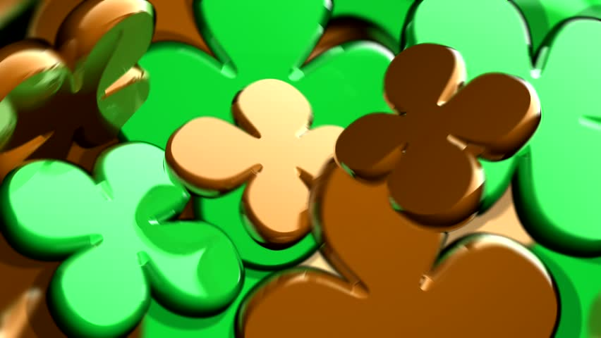 Abstract CGI motion graphics and animated background with spinning four leaf clover