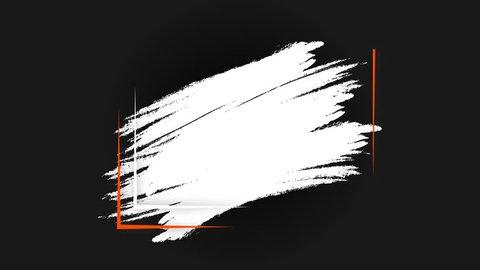 Quote template conceptual brackets,  grunge brush, commas. Motion graphic quote bubble design, orange white and black colors. White acrylic brush, orange brackets.