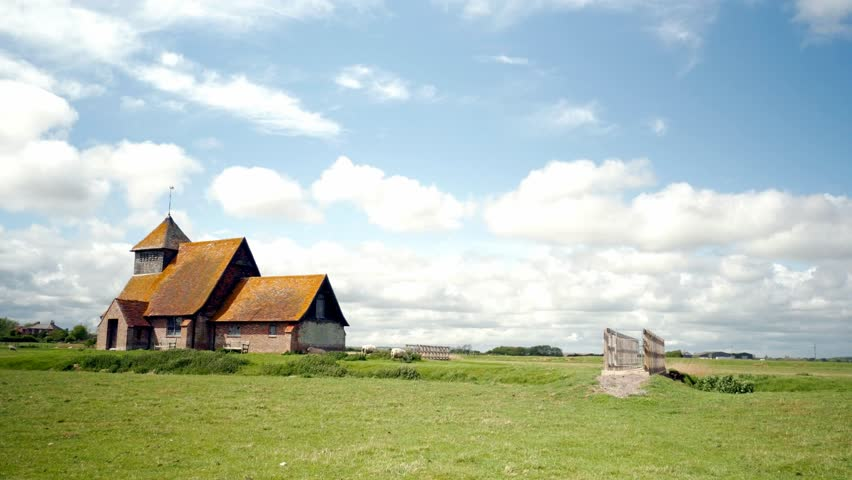 Remote old Medieval CHURCH in English Countryside Fairfield Church on Romney Marsh
